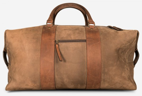 Duffle bag made out of soft leather.
