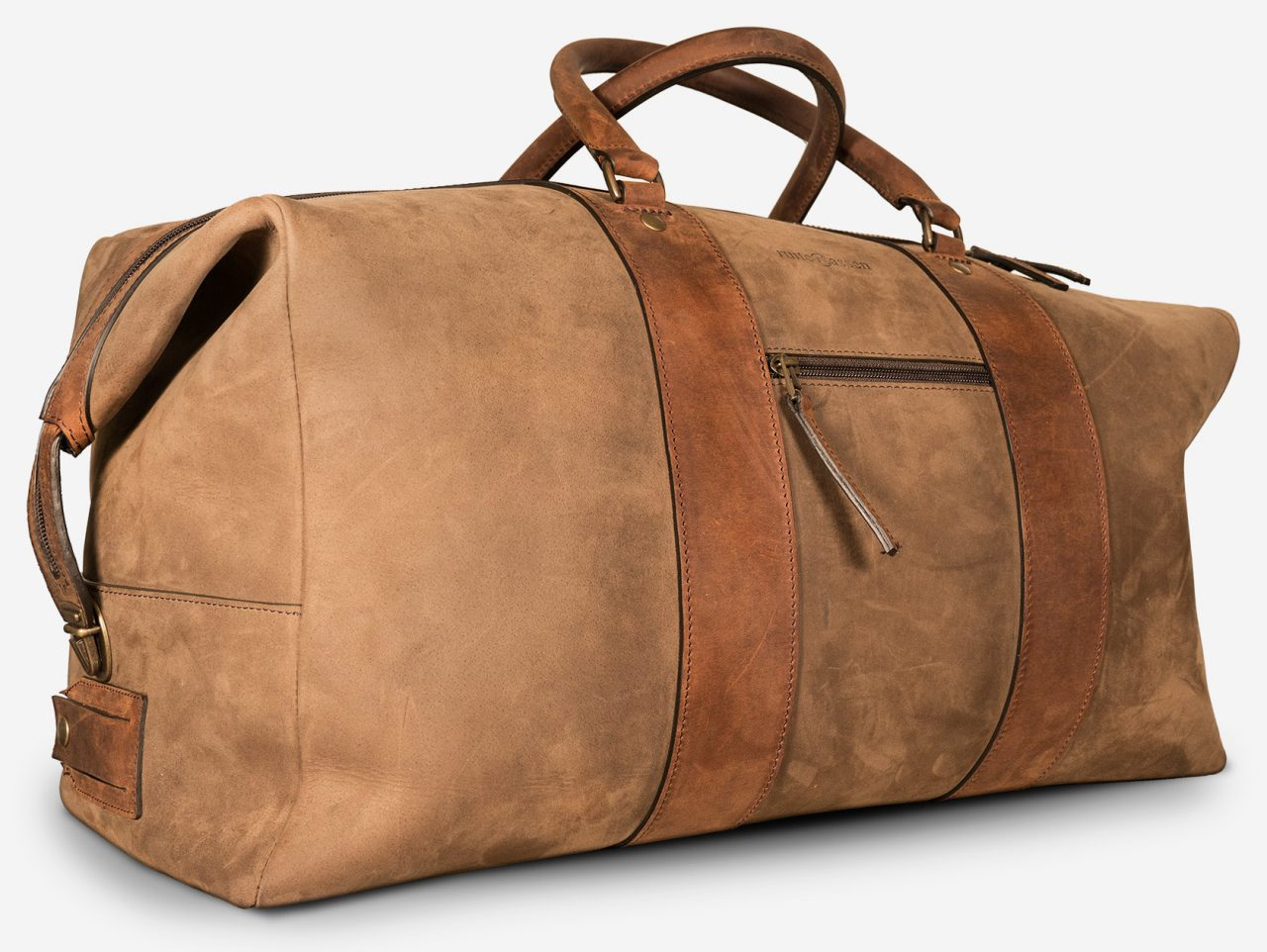 Large duffle bag made out of soft leather side view.
