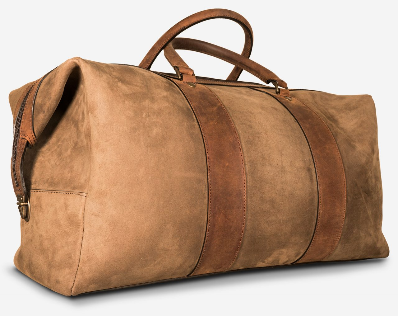 Rear side view of leather duffle bag.