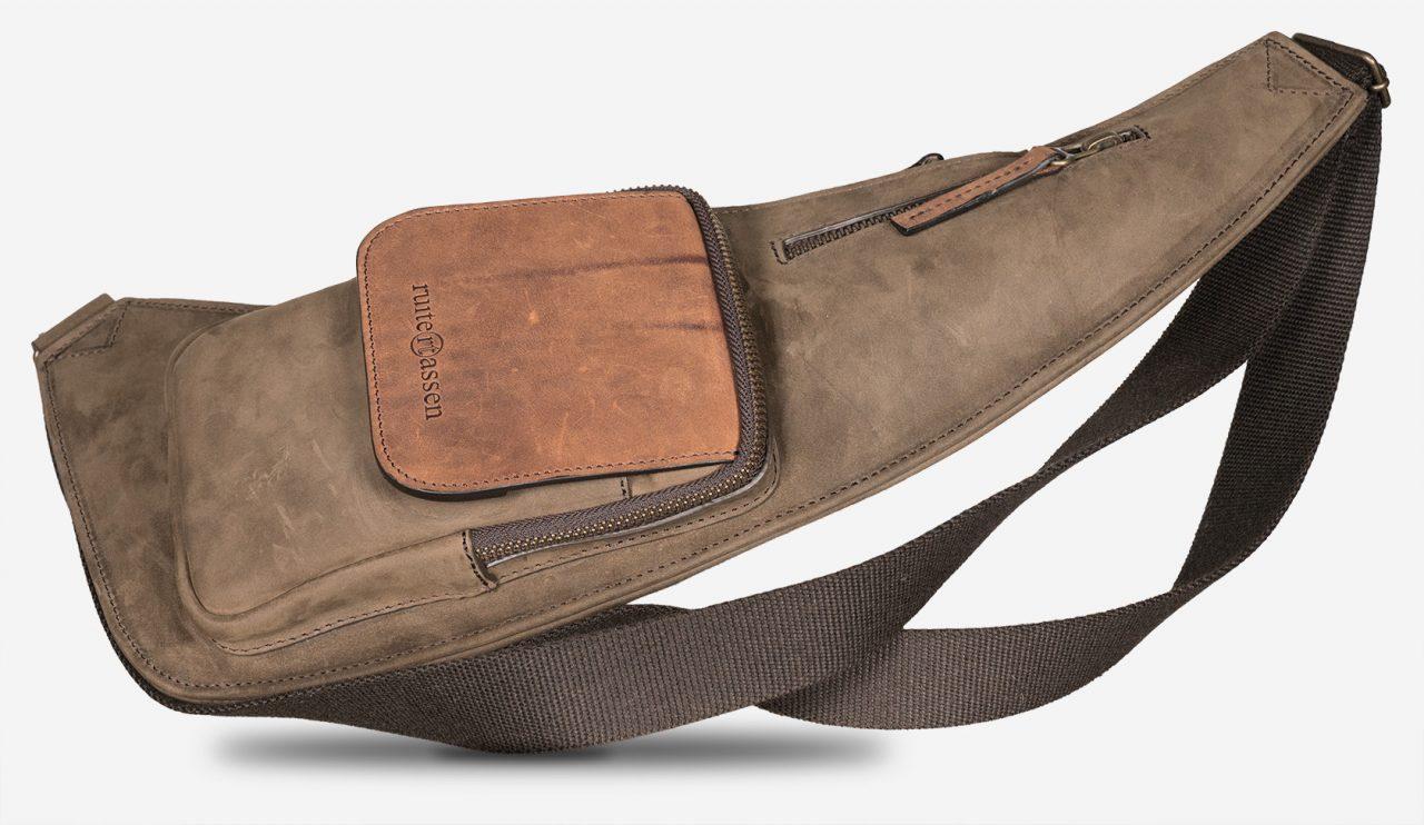 Sling leather bag for men.
