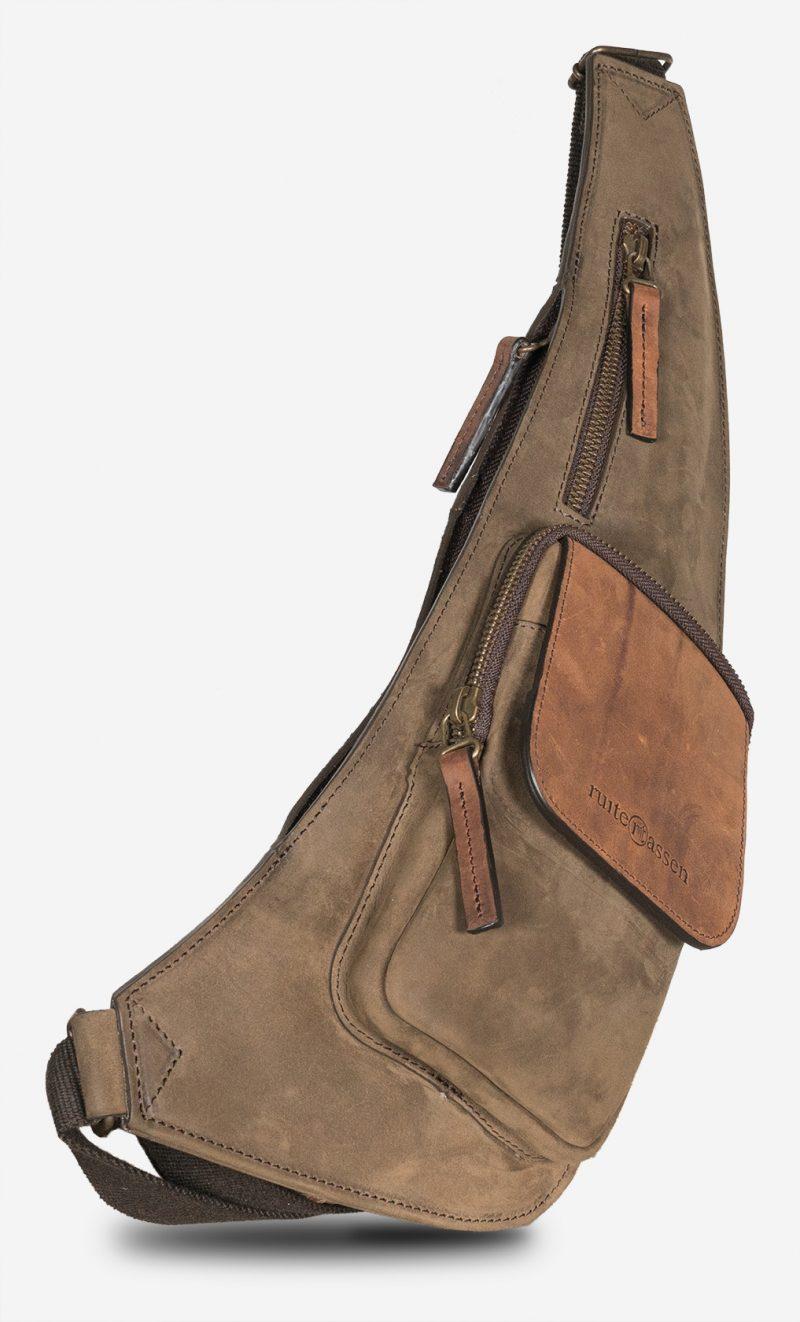Sling leather bag.