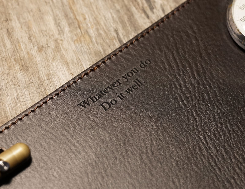 Personalised leather desk mat.
