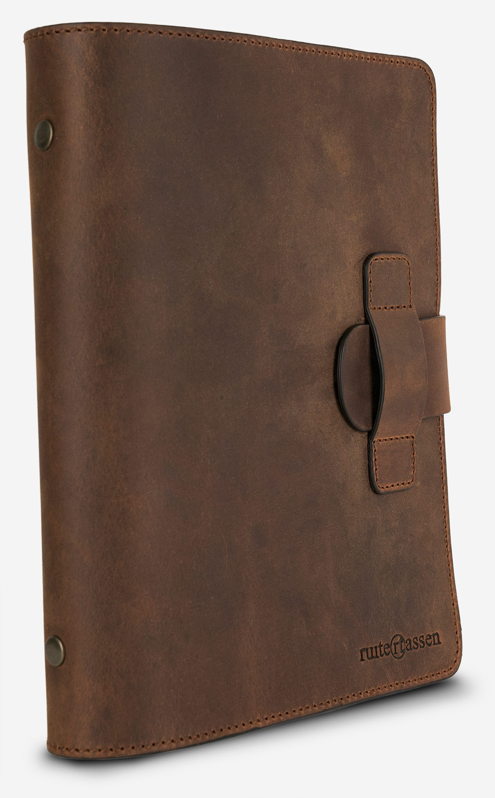 Vegetable-tanned leather refillable cover.