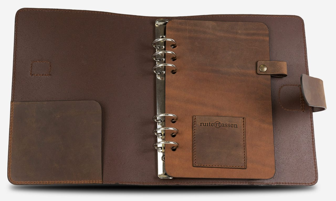 A5 leather ring binder cover.