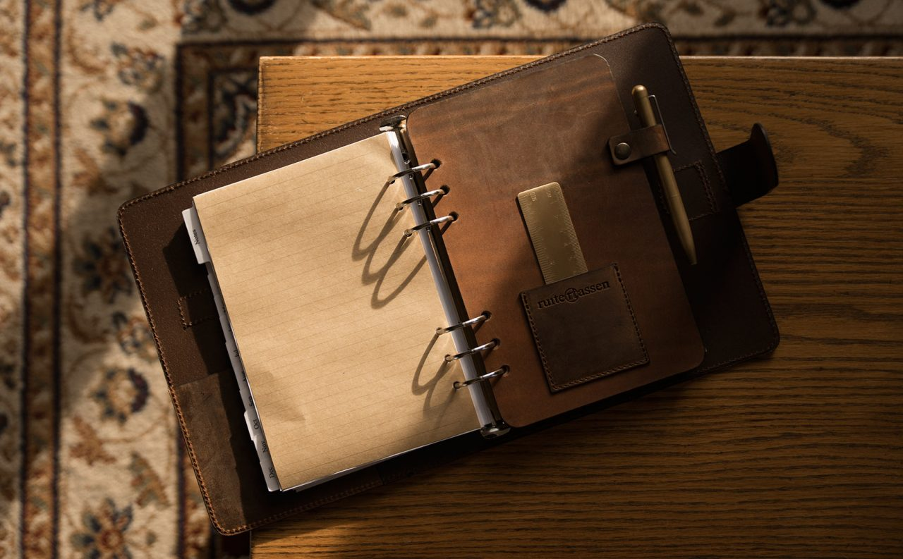 A5 vintage leather refillable planner.