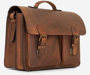 Old school leather satchel briefcase.