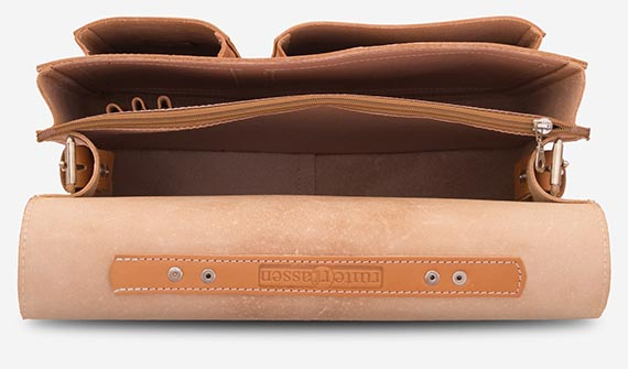 Leather satchel briefcase with 2 compartments.