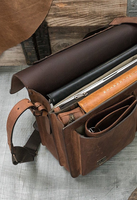Beautiful leather satchel with laptop pocket.