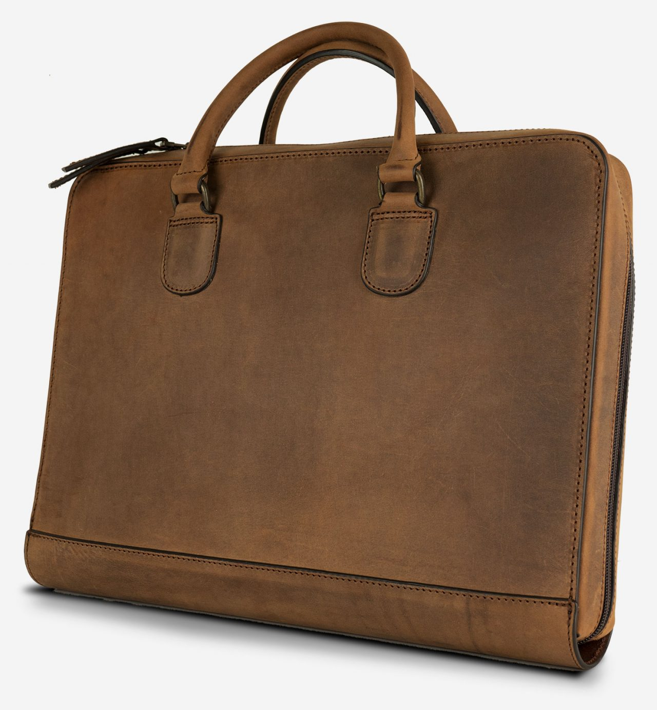 Flat leather briefcase for computer.