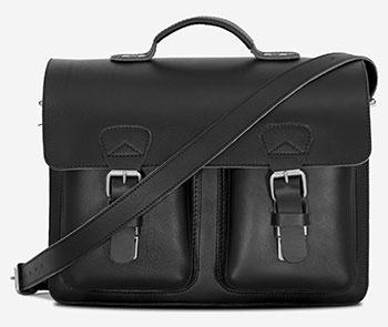 Classic black leather satchel briefcase.