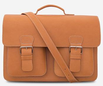 Classic tan leather satchel briefcase.
