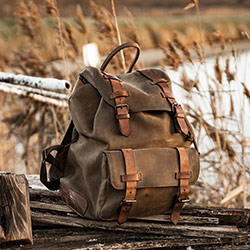 Supple leather backpack for men.