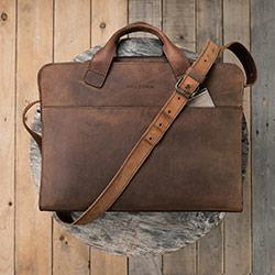 Vintage leather briefcase for men.